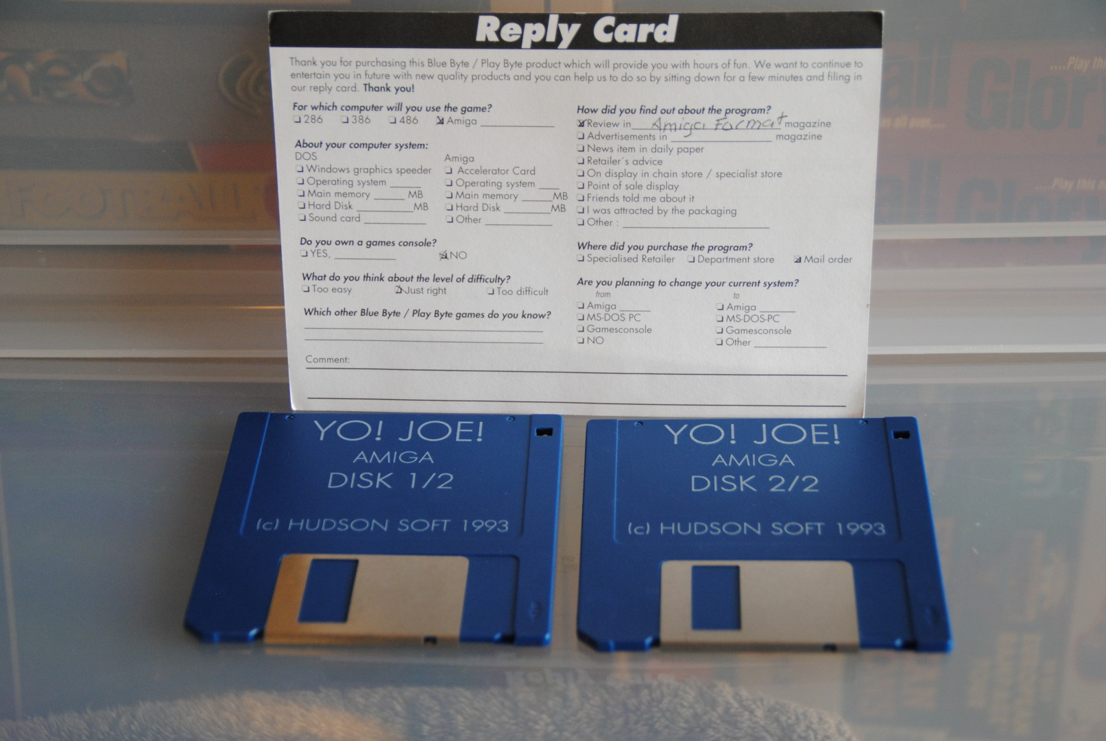 Registration Card and Floppies.   I always copied these cards and sent in, i never sent the originals.