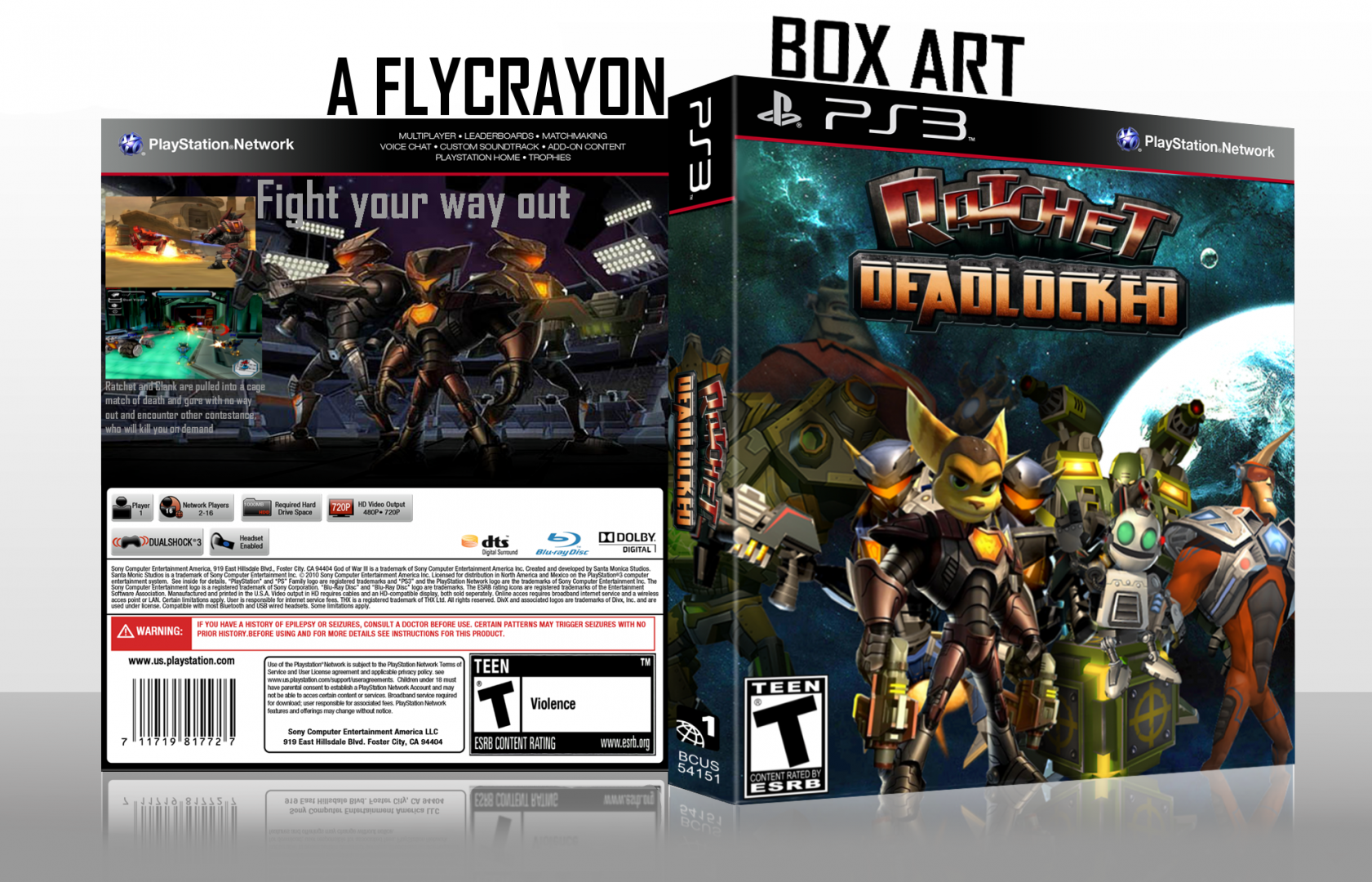 Ratchet & Clank Deadlocked/Gladiator HD remake For the PS3. Cover downloaded from the internet.